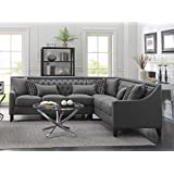 Iconic Home FSA2678-AN Aberdeen Chic Home Linen Tufted Down Mix Modern Contemporary Right Facing Sectional Sofa, Grey
