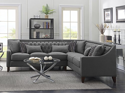Iconic Home FSA2678-AN Chic Aberdeen Linen Tufted Down Mix Modern Contemporary Right Facing Sectional Sofa