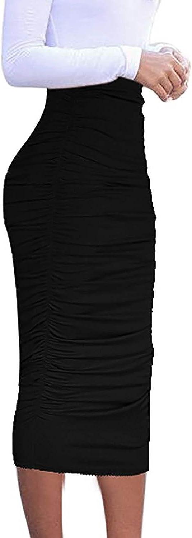 Vivicastle Women's USA Ruched Frill Ruffle High Waist Pencil Mid-Calf Skirt