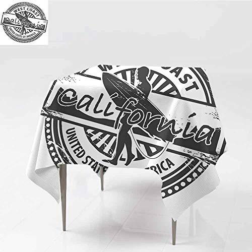 (Diycon Polyester Tablecloth Ride The Wave West Coast California United States of America Grunge Vintage Stamp Print Grey White Table Decoration W63 xL67)