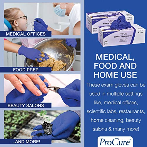 ProCure Disposable Nitrile Gloves – Powder Free, Rubber Latex Free, Medical Exam Grade, Non Sterile, Ambidextrous - Soft with Textured Tips – Cool Blue (Medium, 2000 Case) by Medacure (Image #6)