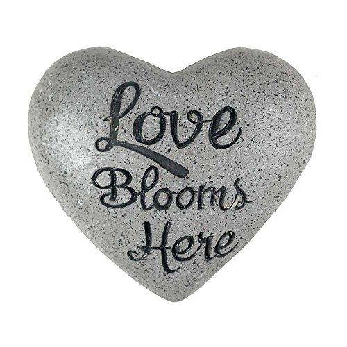 Love Blooms Here Heart Grey Granite 3.75 x 3.5 Inch Cement Outdoor Garden (Granite Outdoor Garden)