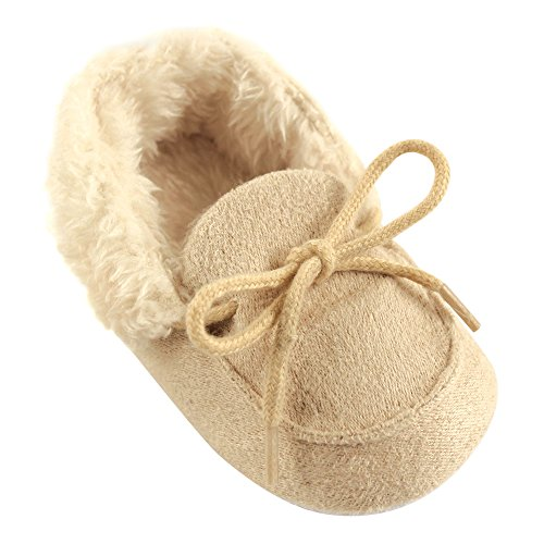 Luvable Friends Baby Cozy Moccasin Slipper, Beige, 12-18 Months M US Infant