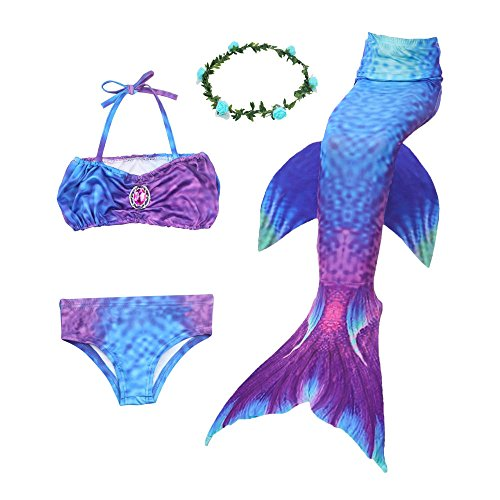 Ubetoone Mermaid Tail Swimmable Costume Swimsuit for Girls Swimming(No Monofin) (Blue Purple Mermaid, Child S(3Y-4Y))