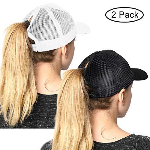 High Ponytail Hole Baseball Hats Cap for Women,Messy Bun Hat Adjustable Cotton and Mesh Trucker Baseball Sun Cap - Brim Beanie Color 3