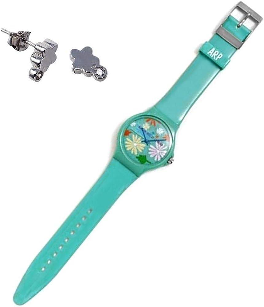 Juego Agatha Ruiz de la Prada reloj AGR241 verde selva pendientes plata Ley 925m flor circonitas - Modelo: AGR241