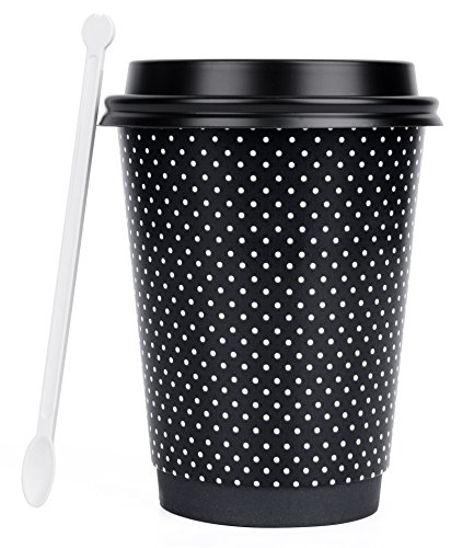 Plain Lid (Hornbit Double Wall Insulated Disposable Paper Coffee Cup with Lid, Sleeve and Stirrer, Pack of 50, 12 Ounce, White Polka Dots Design)