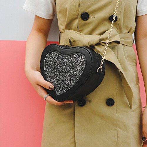 Tinksky Sacchetti della borsa del Crossbody del sacchetto di sera della borsa della spalla del sacchetto di figura di cuoio dell'unità di elaborazione di 1 x (nero)