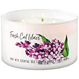 Bath and Body Works White Barn 3 Wick Low Profile Scented Candle Fresh Cut Lilacs 14.5 Ounce with...