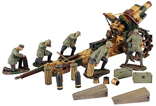 W. Britain 23054 1916-18 German 210mm Howitzer and 5 Man Crew with (Imperial Hand Painted Metal)
