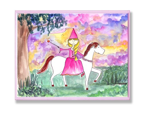 Princess Crown Canvas Wall Art (The Kids Room by Stupell Princess on Horse at Twilight Rectangle Wall Plaque)