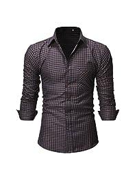 Naladoo Men's Slim Fit Dress Shirts Button Down Business Short/Long Sleeve Plaid
