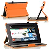 MoKo Google Nexus 7 Case - Slim-Fit Multi-angle Folio Cover Case for Google Nexus 7 Android Tablet by ASUS, ORANGE (with Smart Cover Auto Wake/Sleep Feature)