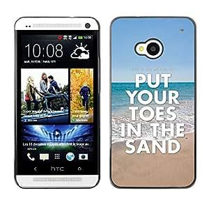 [Neutron-Star] Snap-on Series Teléfono Carcasa Funda Case Caso para HTC One M7 [Toes Sand Sea Summer Beach Blue Ocean]
