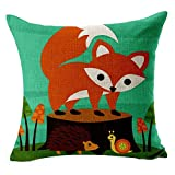 Cartoon Fox Printed Cushion Cover LivebyCare Linen Cotton Cover Throw Pillow Case Sham Pattern Zipper Pillowslip Pillowcase For Decor Decorative Dinning Room Kitchen