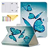 Uliking 9.5-10.5 inch Universal iPad Case, Ultra Slim Wallet Case [Cards/Money Slots] [Magnetic Closure] Protective Cover for All 9.5-10.5 inch Tablet, Blue Butterfly