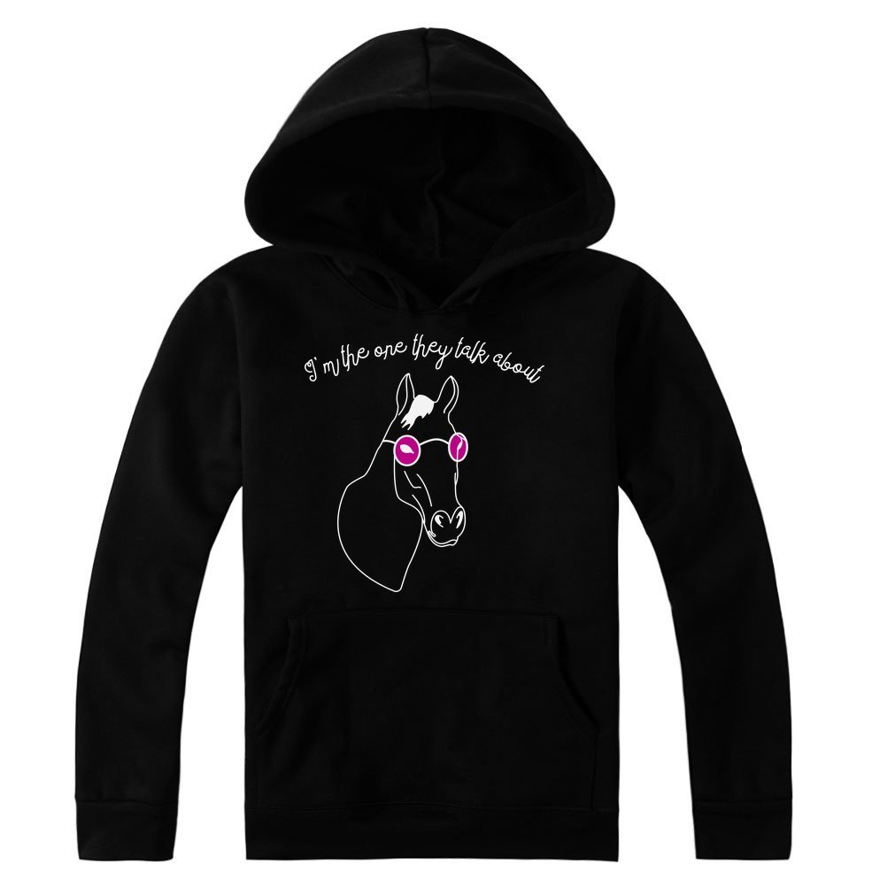 'm The One They Talk About Cool Horse with Glasses Design Women's Hoodie Pullover XX-Large