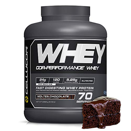 Cellucor Whey Protein Isolate & Concentrate Blend Powder with BCAA, Branched Chain Amino Acids, Gluten Free Low Carb Low Fat, Molten Chocolate, 70 Servings ()