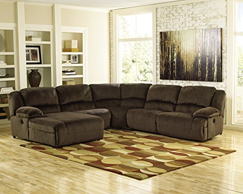 Ashley Furniture Signature Design - Toletta 5-Piece Sectional - Right Arm Facing Power Recliner with Armless Chair & Recliner, Wedge & Left Power Chaise - Chocolate - Sectional Wedge