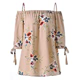Rambling Hot Tops Womens Plus Size Floral Print Cold Shoulder Blouse Casual Camis Beige