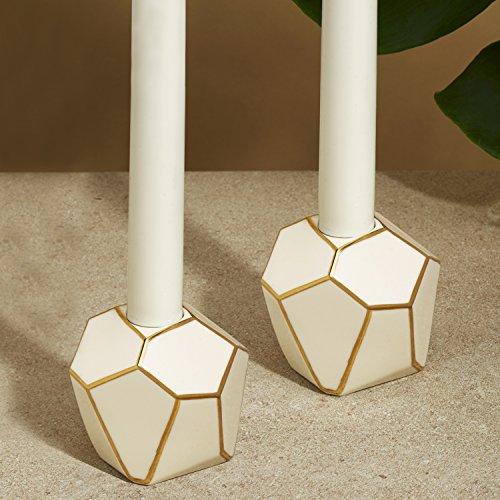 Geometric Modern Ceramic Candleholders with Gold Trim, Set o