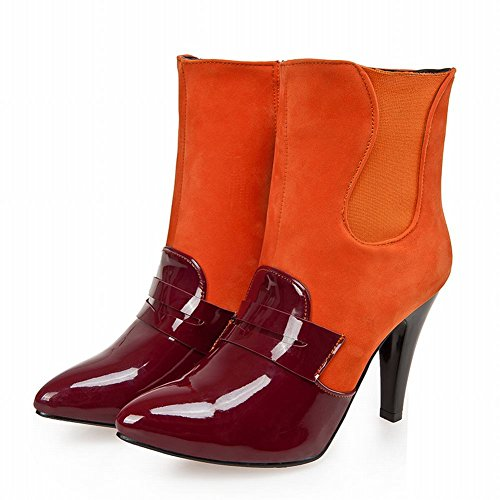 Show Shine Women's Sexy High-heel Stiletto Patent Leather&Nubuck Mid-calf Boots Orange kwZm8OOheA