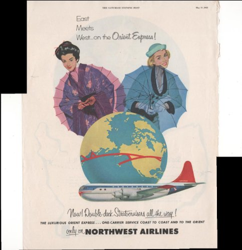 (Northwest Airlines East Meets West Orient Express 1952 Vintage Advertisement)
