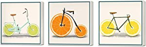 "ArtBones Lemon Bike Bicycle Picture Canvas Wall Art Kitchen Orange Fruit Food Pictures Wall Painting Stretched Framed Giclee Art Print Restaurant Home Dining Room Wall Decoration 12""x12""x 3 Panels"