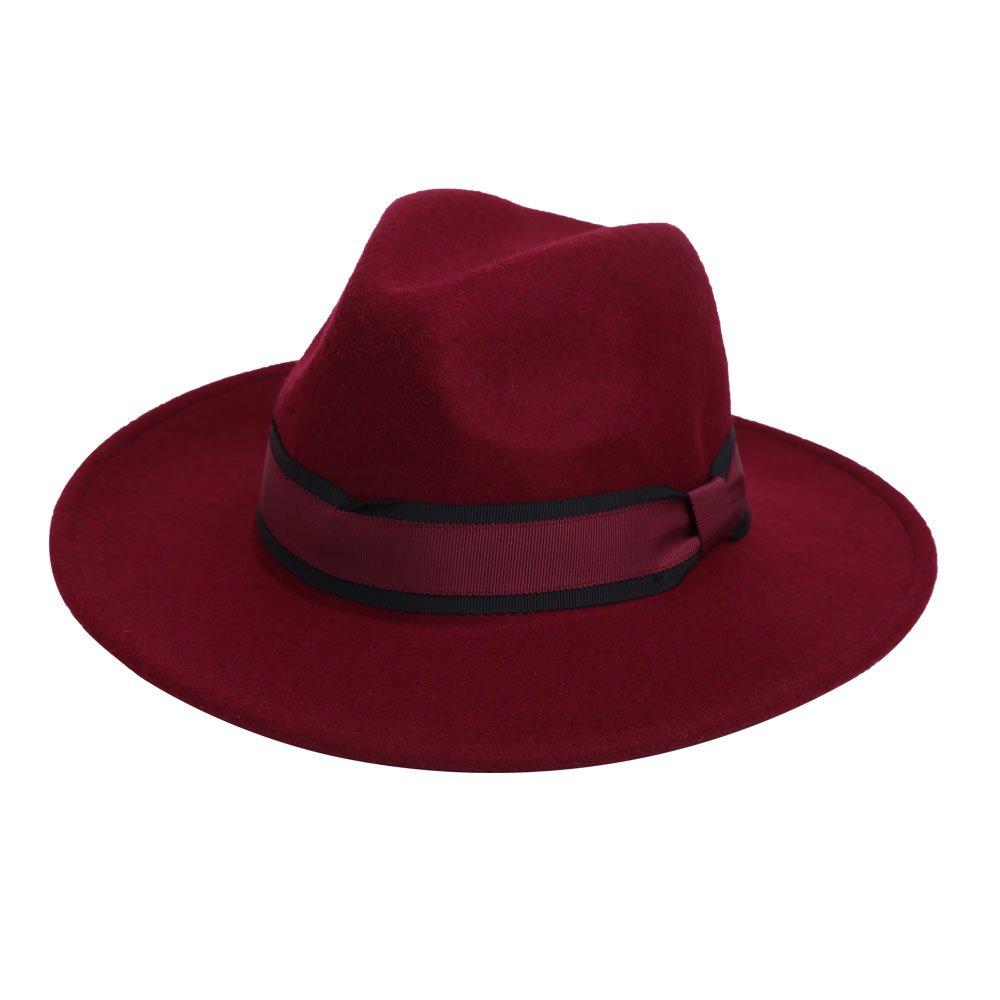 VEC 100% Wool Fedora Hat Vintage Bowler Hats Wide Brim Hat for Women VM-656