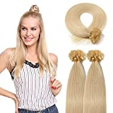 U Tip Remy Human Hair Extension Bleach Blonde #613 100 Strands/50g Pre Bonded Italian keratin Nail Tips Superior Salon Quality (18 inch)