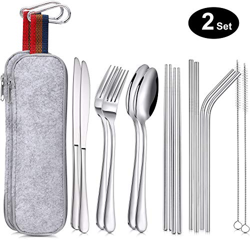 Leinuosen 16 Pieces Portable Utensils, Travel Camping Cutlery Stainless Steel Flatware Set, including Knife, Fork, Spoon, Chopsticks, Cleaning Brush, Straws, Portable Bag (2 - Portable Set Utensil