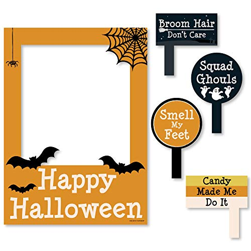 Big Dot of Happiness Trick or Treat - Halloween Party Selfie Photo Booth Picture Frame & Props - Printed on Sturdy Material -