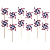 Patriotic - July 4th Flag Pinwheel Cupcake Picks Set of 12