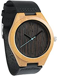 Treehut Mens Wooden Wenge Bamboo Watch with Genuine Black Leather Strap Quart...