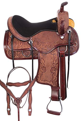 AceRugs Antique Oil Trail Saddle Western Horse TACK Bridle REINS Breastplate Package Show Barrel Racer Premium (Antique Mahogany, 14)