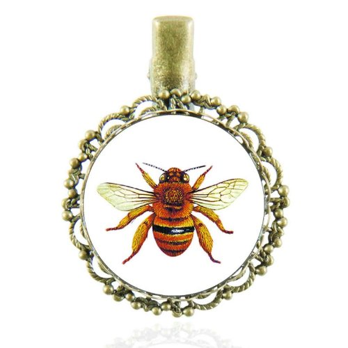 Pince à cheveux au cabochon vintage avec une abeille