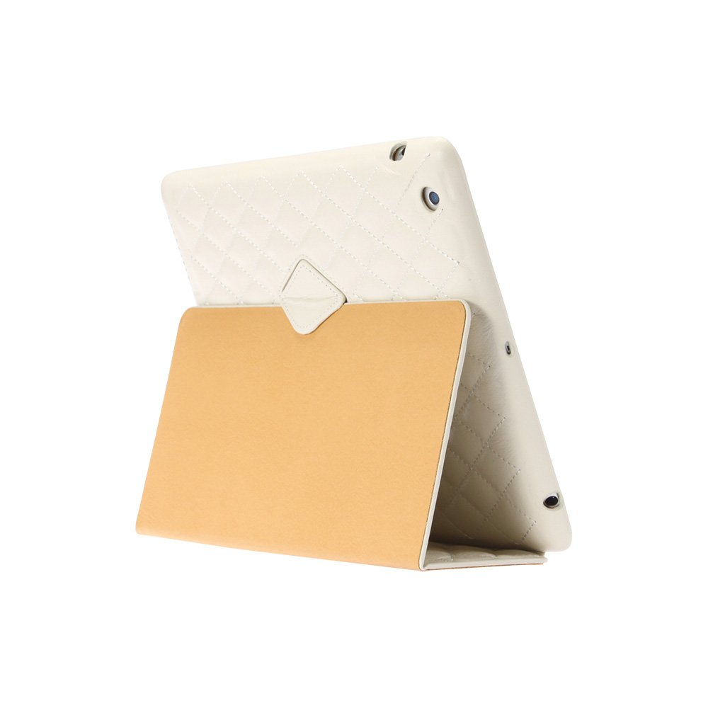 Jisoncase Quilted Genuine Leather Smart Cover Case for iPad 2, 3 & 4, JS-ID-006D-White