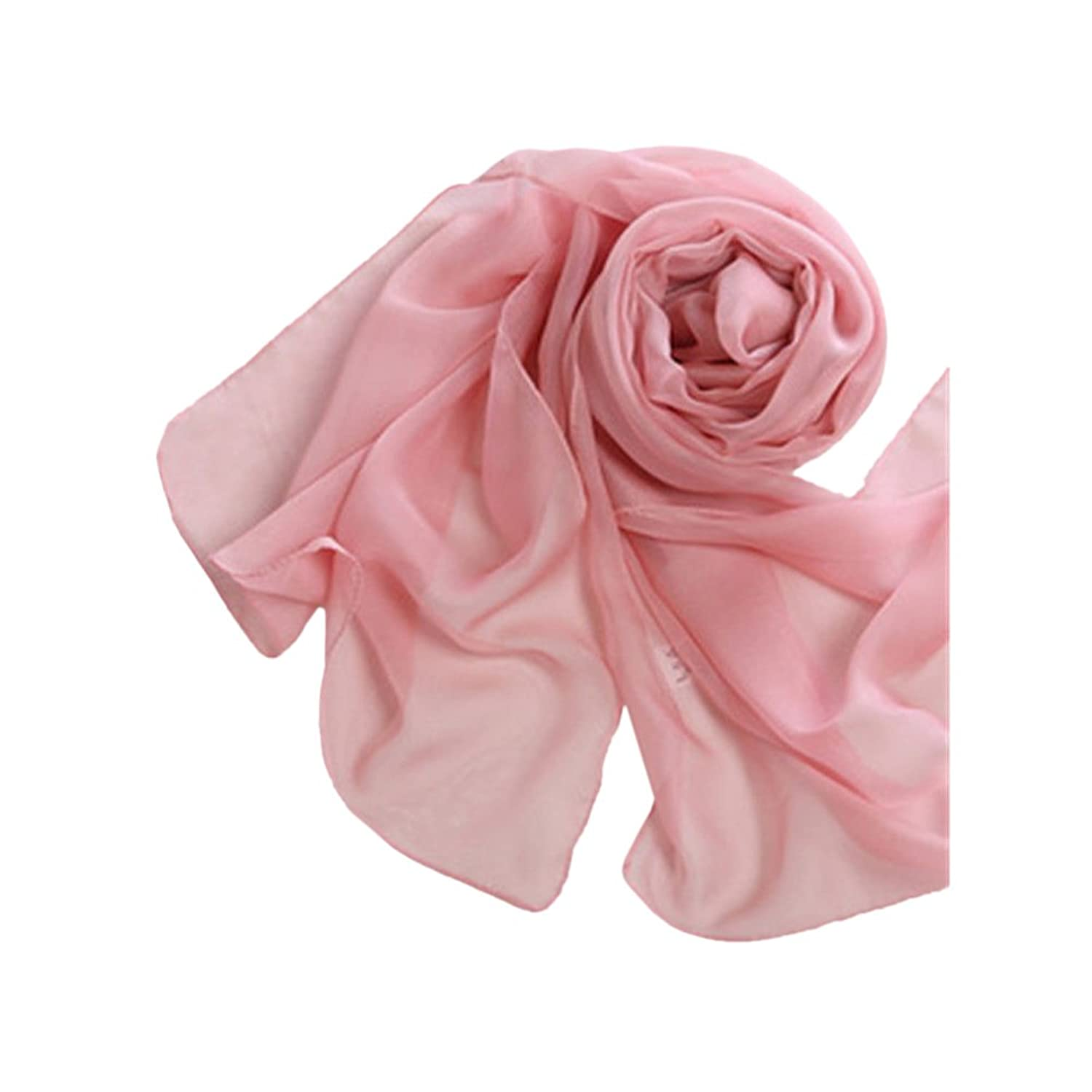 Rubber Pink Fashion Lady Girls Long Soft Chiffon Scarf Wrap Shawl Stole Scarves