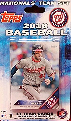Washington Nationals 2016 Topps Baseball Factory Sealed EXCLUSIVE Special Limited Edition 17 Card Complete Team Set with Bryce Harper, Stephen Strasburg & More Stars & RCs! Shipped in Bubble Mailer! - Exclusive Bubble