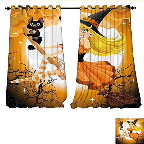 WilliamsDecor Window Curtain Fabric Cute Sexy Witch on a Broom with Baby Kitten and Hazy Moonlight Halloween Themed Drapes for Living Room W96 x L84 Multicolor