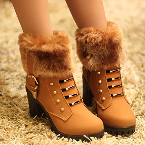 Colorful TM Fashion Women's Winter Warm Snow Boots Martin Square Heels Platform Boots Shoes Brown c2bcSPnF1V