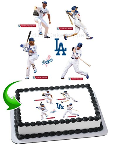 Justin Turner, Coery Seager, Clayton Kershaw, Cody Bellinger Dodgers Edible Image Cake Topper Icing Sugar Paper A4 Sheet Edible Frosting Photo Cake 1/4 ~ Best Edible Image for cake