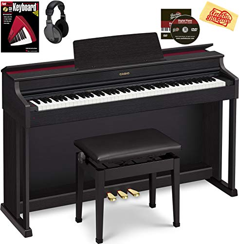 Casio AP-470 Celviano Digital Cabinet Piano – Black Bundle with Furniture Bench, Headphones, Online Lessons, Austin Bazaar Instructional DVD, and Polishing Cloth