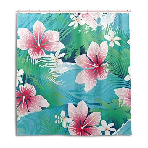 Amanda Billy Hawaiian Hibiscus Flowers with Green Leaves Natural Home Shower Curtain, Beaded Ring, Shower Curtain 72 x 72 Inches, Modern Decorative Waterproof Bathroom Curtains