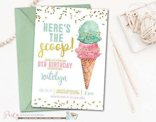 Amazon Ice Cream Birthday Invitation Printed With Mint