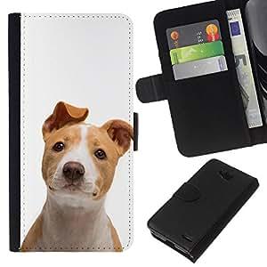 EJOY---La carpeta del tirón la caja de cuero de alta calidad de la PU Caso protector / LG OPTIMUS L90 / --American Pit Bull Terrier canino perro de mascota