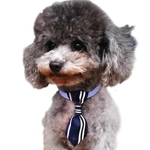 (Adjustable Dog Necktie Cat Collar Fashion Accessories Puppy Kitten Handmade Cute Gift Blue)