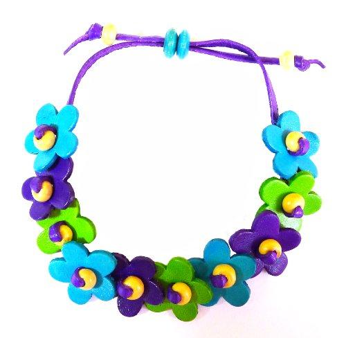 BDJ Floral Design Sky-blue Green Purple Genuine Leather Drawstring Wristband Wrap Bracelet 5-9 Inches - Black Signature Leather Spike