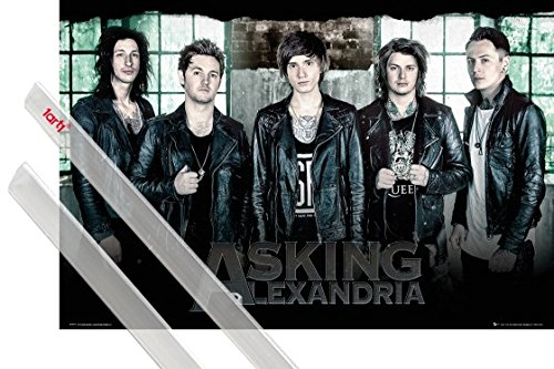 (1art1 Poster + Hanger: Asking Alexandria Poster (36x24 inches) Break Down The Walls and 1 Set of Transparent Poster Hangers)