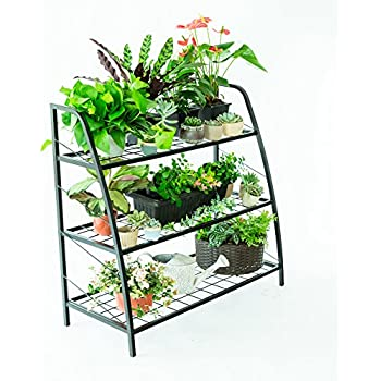 C Hopetree Plant Stand Tiered Plant Shelf Holder For Indoor Outdoor Use,  Metal Frame